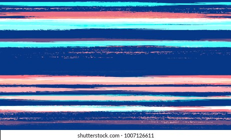 Brush Strokes and Stripes with Watercolor Grunge Effect. Hand Drawn Fashion Seamless Pattern. Dyed Stripes in Watercolor Style. Cloth, Linen, Textile Print Design Pattern.