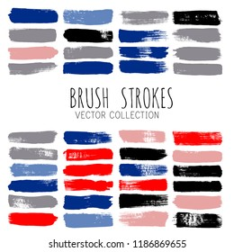 brush strokes vector collection. Set of bright funky hand painted grunge background. Paint line Abstract ink texture, design elements borders or frames.