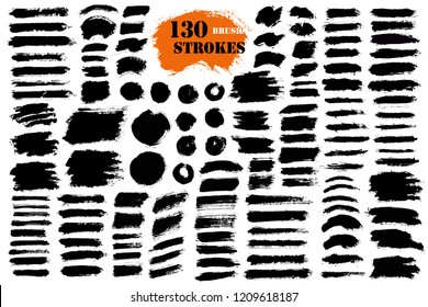 Brush strokes. Vector paintbrush set. Round grunge design elements. Long text boxes. Circle dirty texture banners. Ink splatters. Diagonal painted objects.