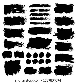 Brush strokes. Vector paintbrush set. Round grunge design elements. Long text boxes. Dirty distress texture banners. Ink splatters. Grungy painted objects.
