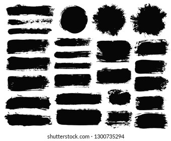 Brush strokes. Vector paintbrush set. Round grunge design elements. Long text boxes. Dirty texture banners. Ink splatters. Painted objects.