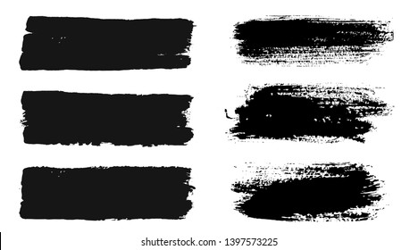 Brush strokes. Vector paintbrush set. Grunge design elements. Rectangle text boxes. Dirty distress texture banners. Ink splatters. Grungy painted objects.
