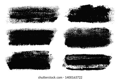 Brush strokes. Vector paintbrush set. Grunge design elements. Rectangle text boxes. Dirty distress texture banners. Ink splatters. Grungy painted objects. Fabric imprint. Textile cloth material