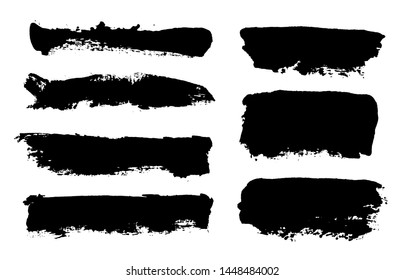 Brush strokes. Vector paintbrush set. Grunge design elements. Rectangle text boxes. Thin dirty distress texture banners. Ink splatters. Grungy painted banners.