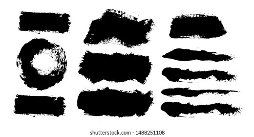 Brush strokes. Vector paintbrush set. Grunge design elements. Rectangle text boxes. Round speech bubbles Thin dirty distress texture banners. Ink splatters. Grungy painted banners.