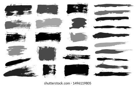 Brush strokes. Vector paintbrush set. Grunge design elements. Rectangle text boxes or speech bubbles. Thin dirty distress texture banners. Ink splatters. Grungy painted badges.