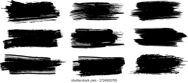 Brush strokes. Vector paintbrush set, brush strokes templates. Grunge design elements. Long text boxes. Dirty distress texture banners. Grungy painted objects.
