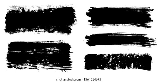 Brush strokes. Vector paintbrushes set. Grunge design elements. Rectangle text boxes, long speech bubbles. Dirty distress texture banners. Ink splatters. Grungy painted bursts.