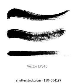 brush strokes watercolor background. Vector black paint