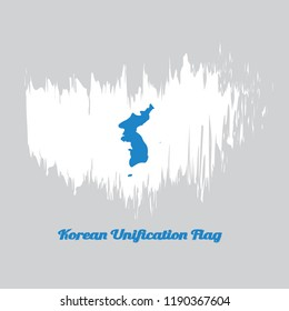 Brush style color flag of Korean Unification Flag, North Korea, South Korea and Korean Peninsula in blue on white with name text Korean Unification Flag.