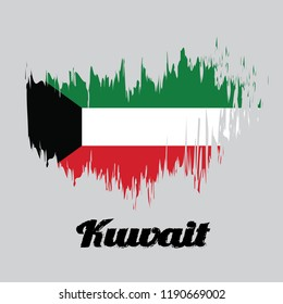 Brush style color flag of Kuwait Flag, green white and red color with black trapezium based on the hoist side. with name text Kuwait.