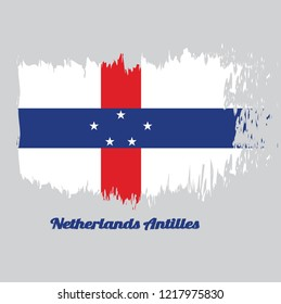Brush style color flag of Netherlands Antilles, A circle of twelve five-pointed yellow stars on a blue field. with text Netherlands Antilles.
