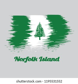 Brush style color flag of Norfolk, Norfolk Island Pine in a central white stripe between two green stripes. with text Norfolk Island.