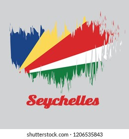 Brush style color flag of Seychelles, five oblique bands of blue yellow red white and green with text Seychelles.
