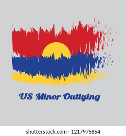 Brush style color flag of United States Minor Outlying Islands with text US Minor Outlying Islands.