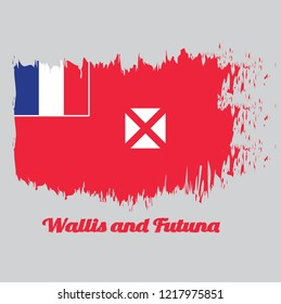 Brush style color flag of Wallis and Futuna, red saltire on a white square, the flag of France in the upper. with text Wallis and Futuna.