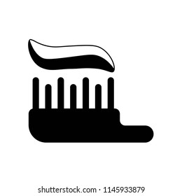 Brush with tooth paste icon vector icon. Simple element illustration. Brush with tooth paste symbol design. Can be used for web and mobile.