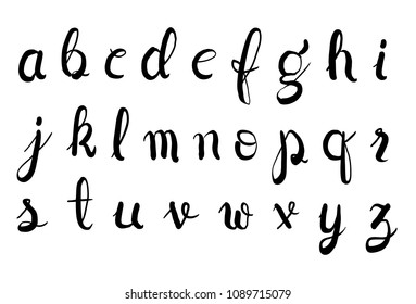 Brush typeface, small letters