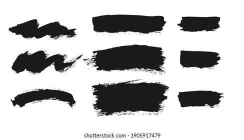 Brush vector set. Collection of freehand grunge ink elements