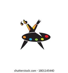 Brush, watercolor palette board, colorful icon vector design illustration