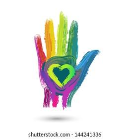 Brushed colorful hand, vector illustration
