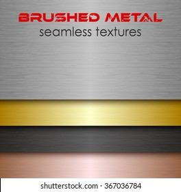 Brushed metal seamless texture set. Collection of aluminum or silver, iron, golden and copper material. Industrial endless background