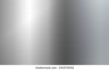 Brushed metal texture. Realistic silver steel surface of silver or aluminum material. Shiny reflective foil pattern. Vector illustration