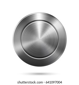 Brushed steel Button. Illustration of a Steel Button. Brushed steel and blank for Copy Space.