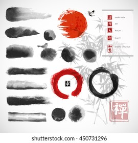 "Brushes and other design elements hand-drawn with ink in traditional Japanese style sumi-e. Red circle symbol of Japan, enso zen circle, hieroglyphs. Contains hieroglyph ""happiness"" in red stamp."