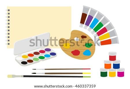 Brushes Paints Sketchbooks Palette Art Supply Stock Vector