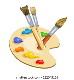 brushes and palette with paints. vector illustration