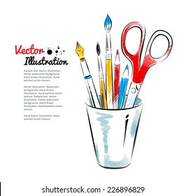 Brushes, pen, pencils and scissors in holder. Hand drawn watercolor and line art. Vector illustration. isolated.
