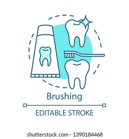 Brushing concept icon. Teeth decay and cavities prevention. Healthy tooth, toothpaste, toothbrush. Oral hygiene routine idea thin line illustration. Vector isolated outline drawing. Editable stroke