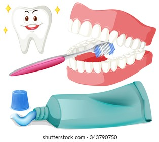 Brushing teeth with brush and paste illustration