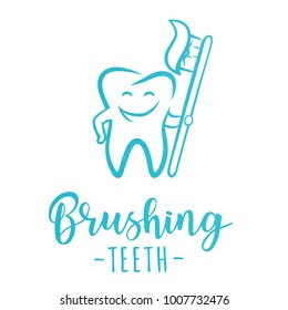 'Brushing teeth' inspirational motivation poster. Symbol of a tooth. Vector illustration.