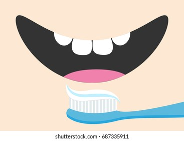 Brushing teeth Toothrush with toothpaste Mouth with tongue and healthy tooth. Smiling face. Body part. Cute cartoon character. Oral dental hygiene Brush paste icon. Baby background Flat design Vector