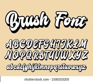 Brushpen comic lettering font. Vector alphabet.