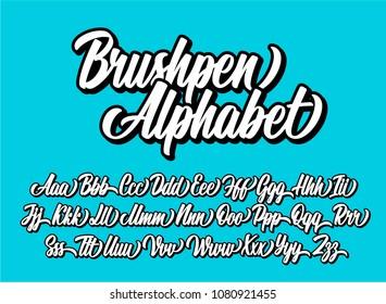 Brushpen lettering alphabet. Vector font.