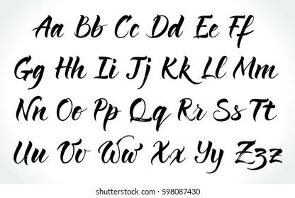 Brushpen lettering vector alphabet. Modern calligraphy, handwritten letters.