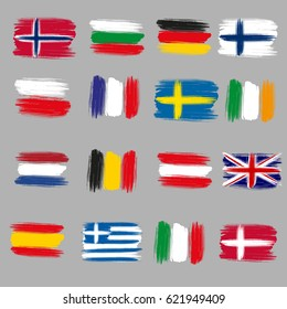 Brushstroke European flags: Italy, Germany, Poland, Spain, France, Ireland, Austria, Bulgaria, Belgium, Greece, Netherlands, Norway, Finland, Sweden, Great Britain, Denmark. For tourism and travel.