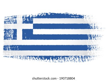 brushstroke flag Greece with transparent background