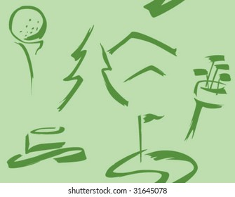 Brush-style golf icons in pattern tile. Change color easily. Two colors + b/w provided.