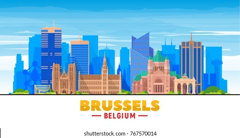 Brussels (Belgium) skyline with panorama in sky background. Vector Illustration. Business travel and tourism concept with modern buildings. Image for presentation, banner, web site.