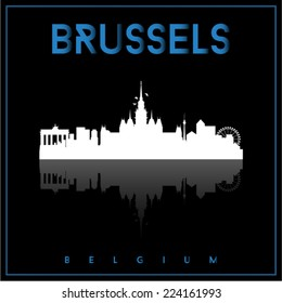 Brussels, Belgium, skyline silhouette vector design on parliament blue and black background.