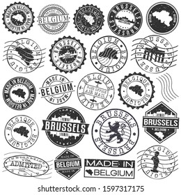 Brussels Belgium Stamp. Vector Art Postal. Passport Travel Design. Travel and Business Set.