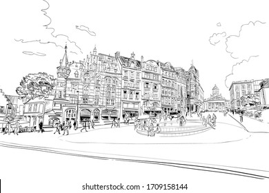 Brussels city street with people and cafes. Belgium. Hand drawn urban sketch. Vector illustration.