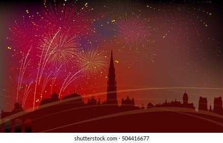 Brussels City Silhouette, Celebration, Fireworks