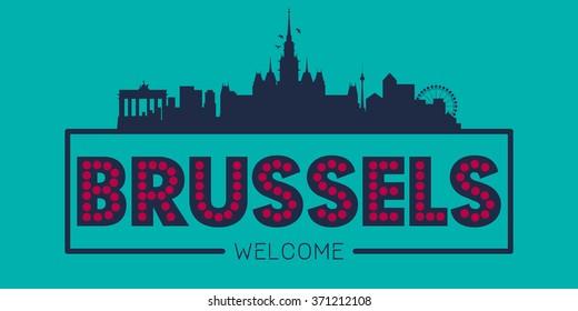 Brussels city skyline typographic illustration vector design