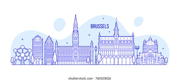 Brussels skyline, Belgium. This illustration represents the city with its most notable buildings. Vector is fully editable, every object is holistic and movable