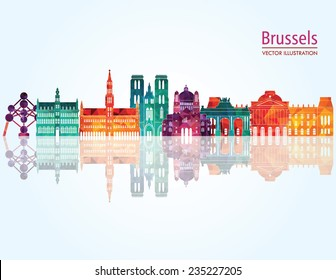 Brussels skyline detailed silhouette. Vector illustration